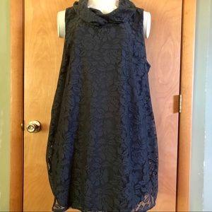 Sleeveless charcoal lace dress